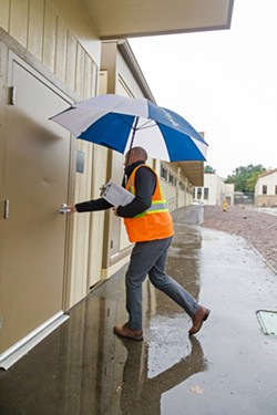 OUT OF SIGHT Knocking on the door, pulling on the handle, and asking for someone to open the door are just a few tactics that SLO High Principal Leslie O'Connor uses to check if classrooms are following lockdown procedures. - PHOTOS BY JAYSON MELLOM