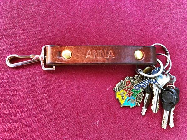 KEY TO HER HEART My wife loves her hand-tooled leather key fob she got at Brian and David's wedding. It turns her keys into a weapon! - PHOTO BY GLEN STARKEY