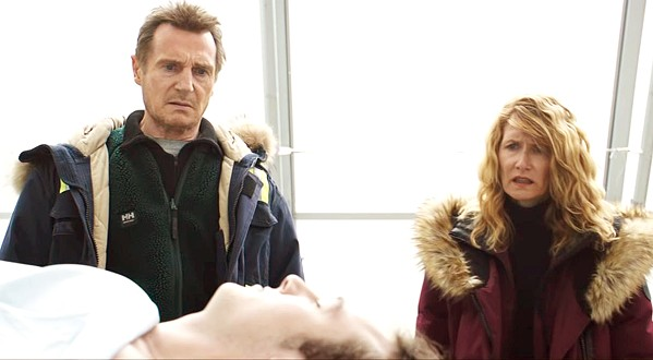 DEATH WILL FOLLOW Snowplow driver Nels Coxman (Liam Neeson, left) and his wife, Grace (Laura Dern), identify their drug-overdosed son, Kyle (Micháel Richardson). - PHOTO COURTESY OF PARADOX FILMS