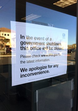 RIPPLE EFFECT The historic government shutdown closed some government offices and impacted federal employees, nonprofits, and cities and counties across the country, including on the Central Coast. - PHOTO BY CHRIS MCGUINNESS
