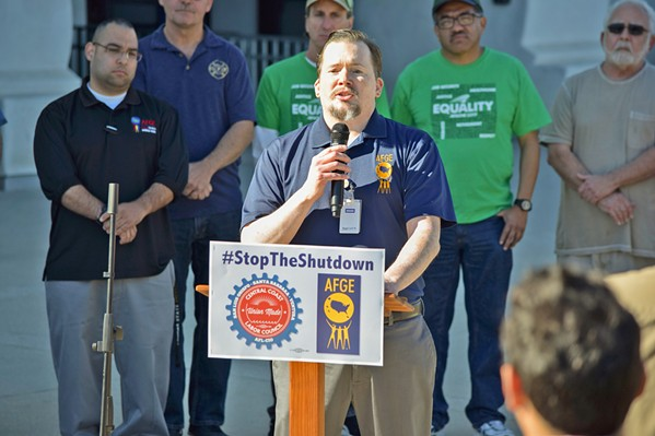 TOUGH CHOICES Local TSA officer Erich Schmidt said he was forced to choose between medical treatment and feeding his family during the 35-day government shutdown. - PHOTO COURTESY OF THE CENTRAL COAST LABOR COUNCIL