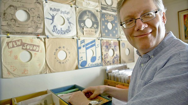 MAN ON A MISSION Comedy writer Steve Young discovers a cache of vintage records that open up a new world of comedy to him, in Bathtubs Over Broadway. - PHOTO COURTESY OF BLUMHOUSE PRODUCTIONS