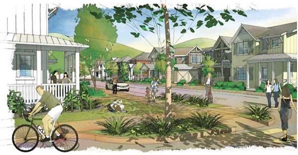 NEW CODE San Luis Obispo plans to adopt new green building codes this summer that will apply to developments like the incoming 580-home San Luis Ranch, rendered here. - RENDERING COURTESY OF THE CITY OF SAN LUIS OBISPO