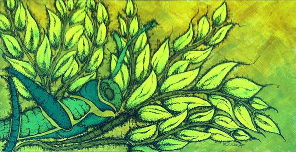 BRAVE Paso Robles-based artist Millicent Sabin took inspiration from stories in the Bible when she painted her acrylic and ink piece, And He Gave Their Crops To The Grasshopper. - IMAGE COURTESY OF MILLICENT SABIN