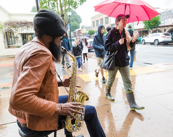Rainy Sax - PHOTO BY JAYSON MELLOM