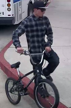 """SUSPECT Grover Beach police say this individual (pictured) is a person of interest in a case where """"destructive devises"""" are being placed and detonated in the city. - PHOTO COURTESY OF GROVER BEACH POLICE"""
