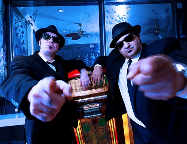 'RUBBER BISCUIT' The Blues Brother Revue, with Keiron Laffery as Elwood (left) and Wayne Catania as Jake, plays the Clark Center on March 22. - PHOTO COURTESY OF THE BLUES BROTHERS REVUE