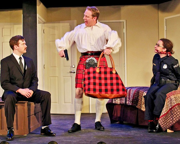 ARMED AND DANGEROUS Todd (Ben Abbott, center) just wants to play his bagpipes before he murders his victims, much to the confusion and fear of wannabe cop Billie Dwyer (Eleise Moore, right) and Agent Frank (Mike Fiore). - PHOTOS COURTESY OF THE GREAT AMERICAN MELODRAMA