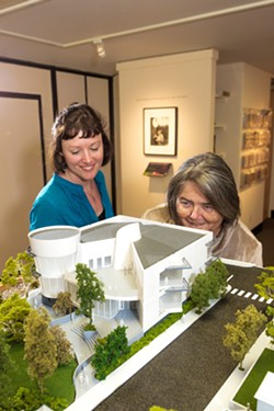 CHANGES Under the leadership of longtime Executive Director Karen Kile (right), the SLO Museum of Art launched a capital campaign for a new $15 million building in 2017. After 20 years in that role, Kile will retire in May. - FILE PHOTO BY JASYON MELLOM