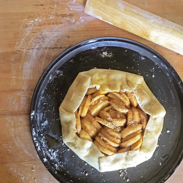 NON-SOGGY BOTTOM This tart is brought to you by The Great British Bake Off. Baked with apples off my parents' tree, my cousin Parisa Amini whipped up a rustic (because it's not in a form) apple tart from scratch without following a recipe. - PHOTO BY PARISA AMINI