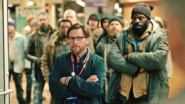 CIVIL DISOBEDIENCE Writer-director-actor Emilio Estevez (center) helms The Public, a drama about homeless people who take over the Cincinnati public library during a cold snap. - PHOTO COURTESY OF HAMMERSTONE STUDIOS