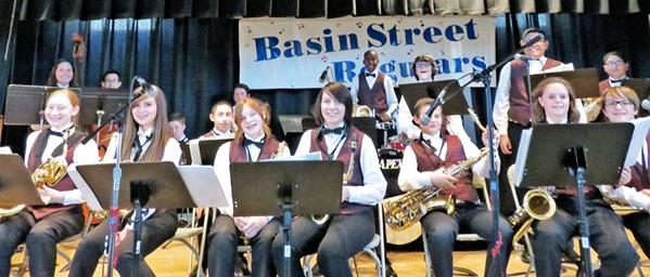 HOT JAZZ KIDS The Tevis Ranger Junior High School Jazz Band will play hot swingin' jazz at the Basin Street Regulars' April 28 concert, in the Pismo Vets' Hall. - PHOTO COURTESY OF TEVIS RANGER JUNIOR HIGH SCHOOL JAZZ BAND
