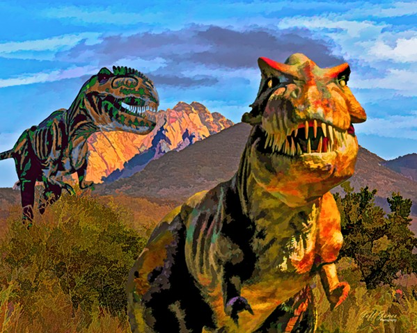 ROAR Jurassic Wild, by artist Jeff Jones, is the result of layering elements of different photos and adding a splash of Photoshop magic. - IMAGE COURTESY OF JEFF JONES