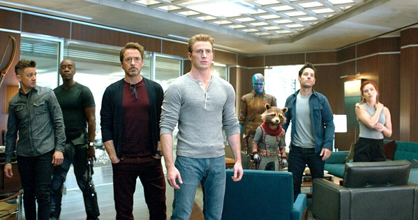 TEAMWORK (left to right) Hawkeye (Jeremy Renner), War Machine (Don Cheadle), Iron Man (Robert Downey Jr.), Captain America (Chris Evans), Nebula (Karen Gillan), Rocket (voiced by Bradley Cooper), Ant Man (Paul Rudd), and Black Widow (Scarlett Johansson) join forces to restore the universe. - PHOTO COURTESY OF MARVEL STUDIOS