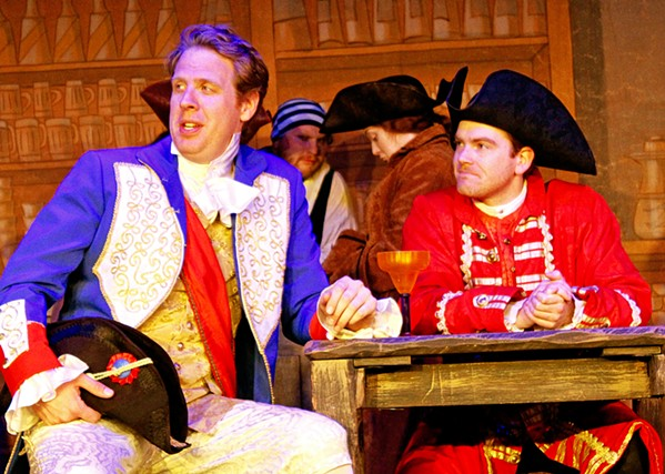 X MARKS THE SPOT Deception and puns abound in the Great American Melodrama's adaptation of Treasure Island. From left to right: Young Squire Trelawny (Ben Abbott) and Long John Silver (Mike Fiore.) - PHOTOS COURTESY OF THE GREAT AMERICAN MELODRAMA