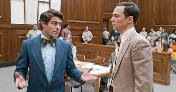 SELF-DEFENSE At his trial, Bundy (Zac Efron, left) brazenly decided to dismiss his counsel and defend himself, giving Florida prosecutor Larry Simpson (Jim Parsons, right) an advantage. - PHOTO COURTESY OF COTA FILMS