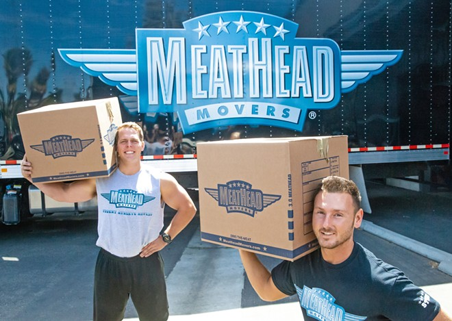 MOVING IN OR OUT? No surprises here. Meathead Movers got Best Moving Company again! Student athlete movers Jeremy Simpson (left) and Cody Williams (right) - will be there when you call for help with your next move. - PHOTO BY JAYSON MELLOM