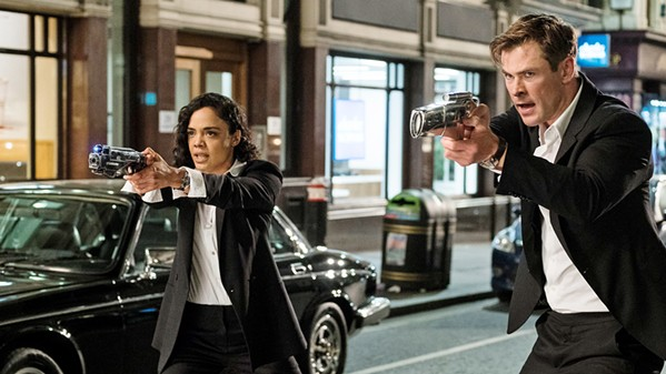 TEAM WORK New recruit Agent M (Tessa Thompson) and Agent H (Chris Hemsworth) join forces to find an enemy mole in their organization, Men in Black: International. - PHOTO COURTESY OF COLUMBIA PICTURES