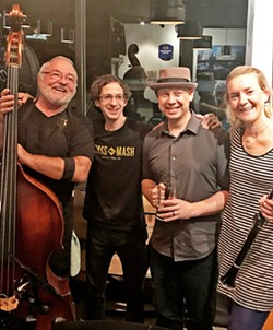 ALL THAT JAZZ (left to right) Beda's Biergarten proprietor Beda Schmidthues and Twice Cooked Jazz members James Gallardo, Forrestt Williams, and Laura Foxx will be at the third annual BedaFest on June 29, at Hacienda Antigua. - PHOTO COURTESY OF BEDAFEST