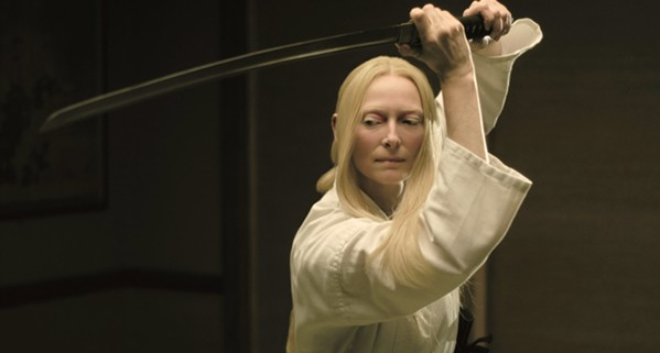 DEADLY DISCIPLINE Tilda Swinton stars as Zelda Winston, Centerville's eccentric undertaker and swordswoman. - PHOTOS COURTESY OF ANIMAL KINGDOM