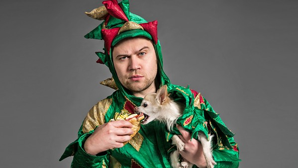 DYNAMIC DUO Comic magician Piff the Magic Dragon and his trusty sidekick, Mr. Piffles, perform at Fremont Theater on June 28. - PHOTO COURTESY OF PIFF THE MAGIC DRAGON