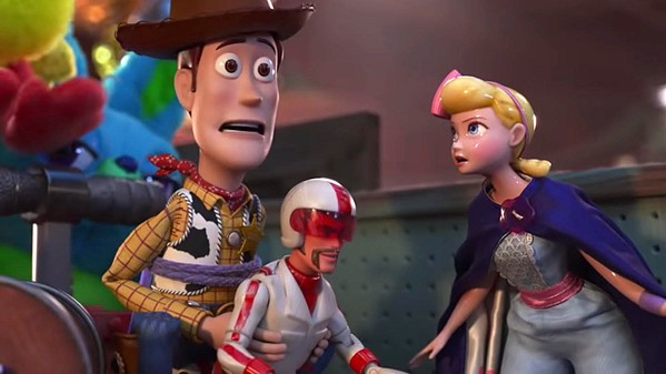 TO THE RESCUE Woody (Tom Hanks) and Bo Peep (Annie Potts) enlist the help of daredevil action figure Duke Caboom (Keanu Reeves) to find Forky (Tony Hale) and bring him home in Toy Story 4. - PHOTOS COURTESY OF DISNEY