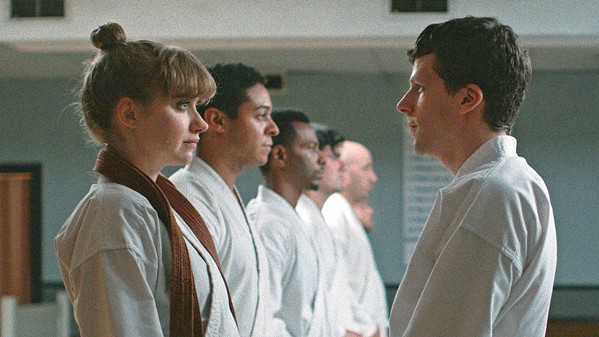 HIYA! After being randomly attacked, timid Casey (Jesse Eisenberg) decides to join a dojo and learn martial arts, leading him into a hyper-masculine underworld, in The Art of Self-Defense, screening exclusively at The Palm. - PHOTO COURTESY OF END CUE