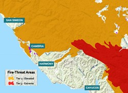 THE THREAT Much of the Central Coast is considered to be in an area of either elevated or extreme threat of wildfire. - MAP COURTESY OF PG&E