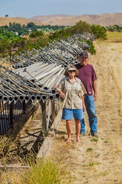 STUCK Robert Galbraith and Robin Chapman stand by their farm's irrigation pipes. They are barred from using groundwater due to SLO County regulations. - PHOTO BY JAYSON MELLOM