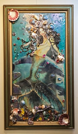 UNDER THE SEA Remembering Atlantis is an encaustic, mixed-media piece that explores the idea of other civilizations and the healing knowledge they might have had. - IMAGES COURTESY OF DEPRISE BRESCIA