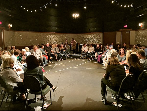 EVERYONE'S CONNECTED Audience members in Chicago create a web of yarn for a January 2019 show. Rhizome Theater Company, formed by an Arroyo Grande-raised trio, has toured the U.S. with Nice Town, Normal People. - PHOTOS COURTESY OF RHIZOME THEATER COMPANY