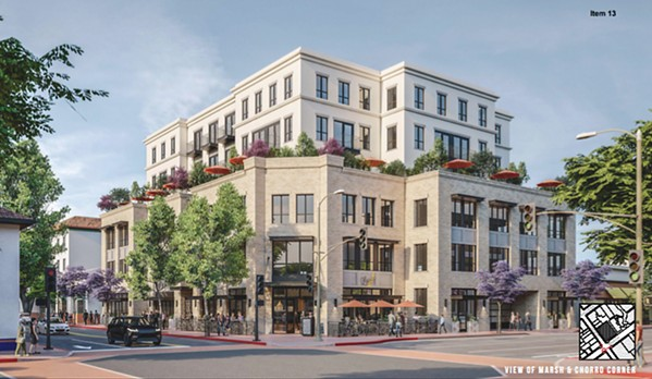 DOWNTOWN DEVELOPMENT A 75-foot apartment complex at the corner of Marsh and Chorro streets in downtown SLO (rendered) is under consideration by the city. - SCREENSHOT COURTESY OF THE CITY OF SLO