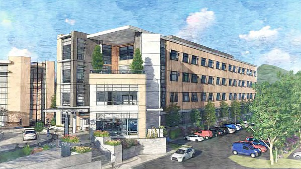 GROWTH A $125 million proposed expansion of French Hospital would add a four-story medical tower to its campus—making it the largest health care center in SLO County. - RENDERING COURTESY OF THE CITY OF SLO