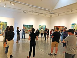 LEADING THE NEXT GENERATION Artist Julie Heffernan speaks to a Cuesta College class in her Miossi Art Gallery exhibition, As the Waters Rise. - PHOTO COURTESY OF EMMA SAPERSTEIN
