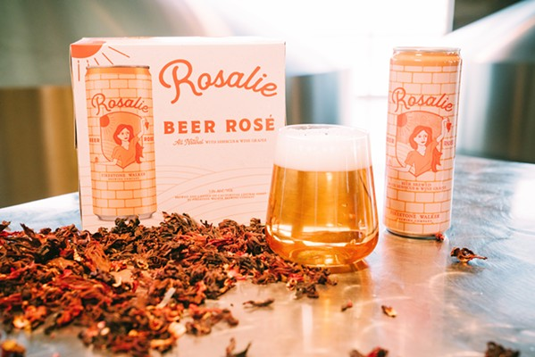 BREAKING THE BEER MOLD Rosalie is co-fermented with chardonnay and other aromatic local wine grape varieties from Castoro Cellars in Paso Robles. The brewmasters incorporate a dash of hibiscus flower to achieve that pretty rosé color. - PHOTO COURTESY OF FIRESTONE WALKER