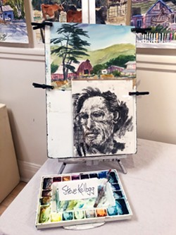 REMEMBERING THE ARTIST A portrait of Steve Kellogg sits among the hundreds of paintings on display at Cambria Center for the Arts through Oct. 27. - PHOTOS BY MALEA MARTIN