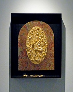 UNTITLED Bruce Miller said he has moved away from titling his pieces over the years in the interest of removing all bias from the viewing experience. This piece uses gold flakes to create a window-like image. - PHOTOS COURTESY OF BRUCE MILLER