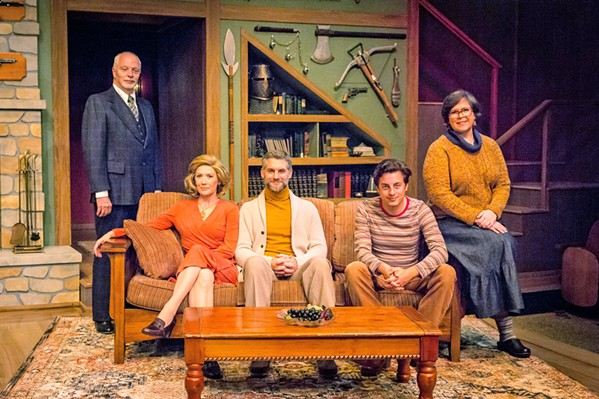 THE CAST SLO Rep's five-person cast does great justice to Deathtrap's infamous twists and turns. From left to right: Porter (Tom Ammon), Myra Bruhl (Melinda Parrett), Sidney Bruhl (Michael Brusasco), Clifford Anderson (Cameron Parker), and Helga (Zoia N. Wiseman). - PHOTOS BY RYLO MEDIA DESIGN, RYAN C. LOYD