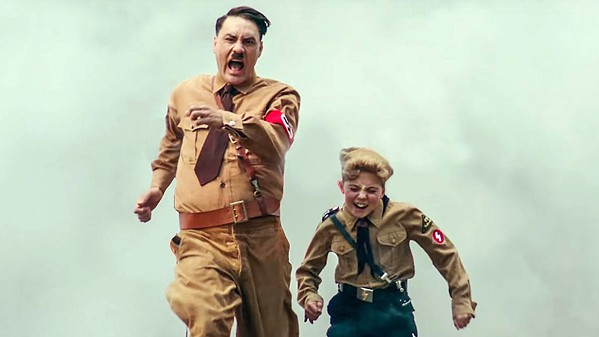 "NAZI POWER Jojo (Roman Griffin Davis, right) and his imaginary friend ""Adolf"" (writer-director Tailka Waititi) feel the Nazi spirit during Hitler Youth training. - PHOTOS COURTESY OF PIKI FILMS"