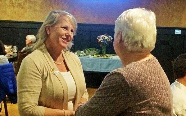 MORE MONEY MORE PROBLEMS Mayor Caren Ray Russom greets a supporter at an election night party in 2018. Now Russom is fighting for a pay increase for Arroyo Grande City Council. - FILE PHOTO BY CHRIS MCGUINNESS