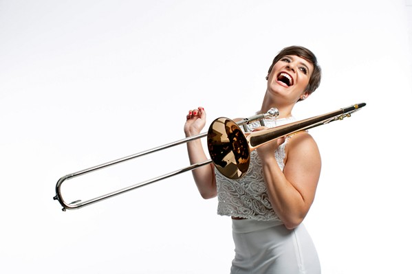 DOUBLE THREAT Check out singer and trombone player Aubrey Logan (of Postmodern Jukebox) who will perform her show A Sassy Christmas on Dec. 5, in The Siren. - PHOTO COURTESY OF AUBREY LOGAN