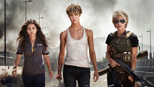 """THREE STRONG (Left to right) Daniella """"Dani"""" Ramos (Natalia Reyes) finds protection from enhanced soldier Grace (Mackenzie Davis) and Sarah Connor (Linda Hamilton) from a new Terminator out to kill Dani, the future mother of a resistance leader, in Terminator: Dark Fate. - PHOTO COURTESY OF PARAMOUNT PICTURES"""