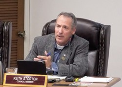 FLIP-FLOPPING At a meeting on Nov. 26, the Arroyo Grande City Council voted to push a proposed 60 percent pay raise back to 2022, a decision that largely hinged on Councilmember Keith Storton's swing vote. - SCREENSHOT FROM SLO-SPAN
