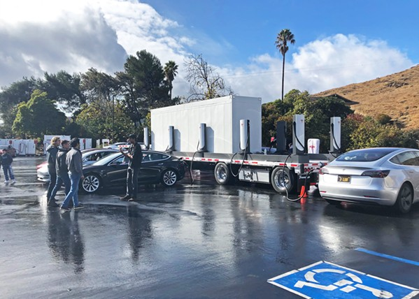 CHARGER ON WHEELS Tesla deployed one of its new megapack battery-powered mobile supercharger units at the Madonna Inn on Nov. 27, causing a stir among Tesla enthusiasts both locally and nationally. - PHOTO COURTESY OF BRIAN SWENSON