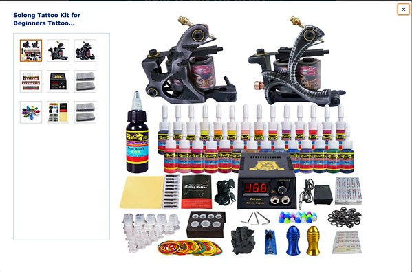 DIY TATTOOS Tattooing kits like this one are sold on Amazon and have everything you need for a great tattoo (except the professional artist, that is), and at a fraction of the cost of a professional session. - SCREENSHOT FROM AMAZON.COM