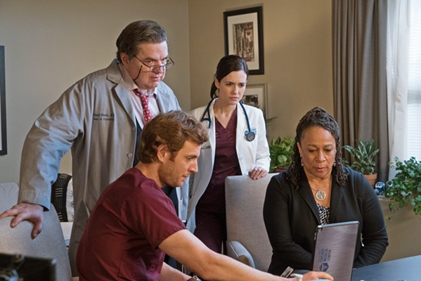 THE CAST Chicago Med actors (Left to right) Oliver Platt, Nick Gehlfuss, Torrey DeVitto, and S. Epatha Merkerson return for a fifth season, and will appear under the direction of Cambria native S.J. Main-Muñoz in their March 25 episode. - PHOTO COURTESY OF NBC