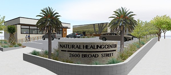 ON ITS WAY It won't be another six months or so until Natural Healing Center opens its cannabis dispensary in SLO (rendered here), as the company is remodeling two buildings and combining two lots on Broad Street. - RENDERING COURTESY OF THE CITY OF SLO