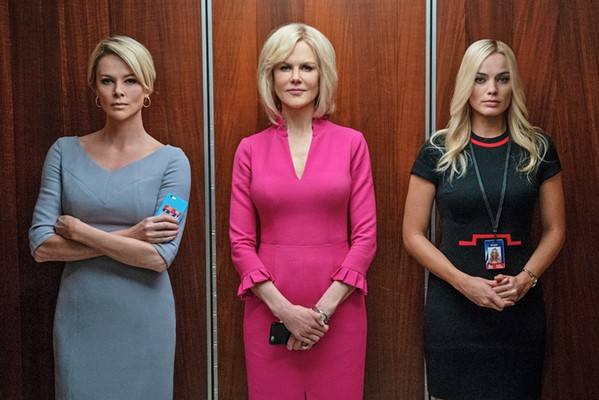 BRINGING DOWN AN EMPIRE Bombshell tells the true story of Megyn Kelly (Charlize Theron), Gretchen Carlson (Nicole Kidman), and Kayla Pospisil (Margot Robbie), who set out to expose Fox News CEO Roger Ailes for sexual harassment. - PHOTO COURTESY OF LIONSGATE AND HILLARY B. GAYLE
