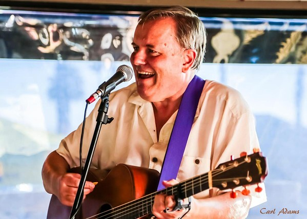 EMCEE Steve Key hosts Songwriters at Play's Steve Earle Tribute showcase in The Savory Palette on Jan. 14. - PHOTO COURTESY OF CARL ADAMS