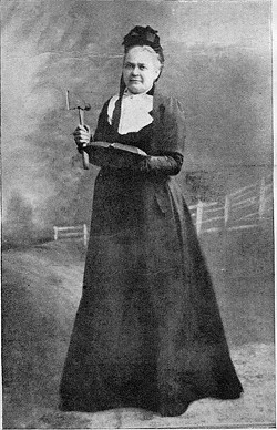 "SCARY CARRIE Mrs. Carrie Nation, pictured on a page of Black and White Budget, Dec. 6, 1902, loathed drinking alcohol so much she'd ""smash"" taverns and bars with her hatchet and chase the heathens with her Bible. The caption printed with the historic photo said she ""has 'smashed' upwards of 500 American tavern and public-house bars and fixtures. Mrs. Nation has been arrested oftener than any other living woman. She still keeps up her crusade against drink."" - PHOTOS COURTESY OF THE WINE HISTORY PROJECT OF SLO COUNTY"